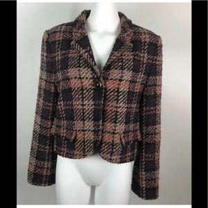 NWT Virtue Wool Blend Tweed Plaid Blazer Purple 14